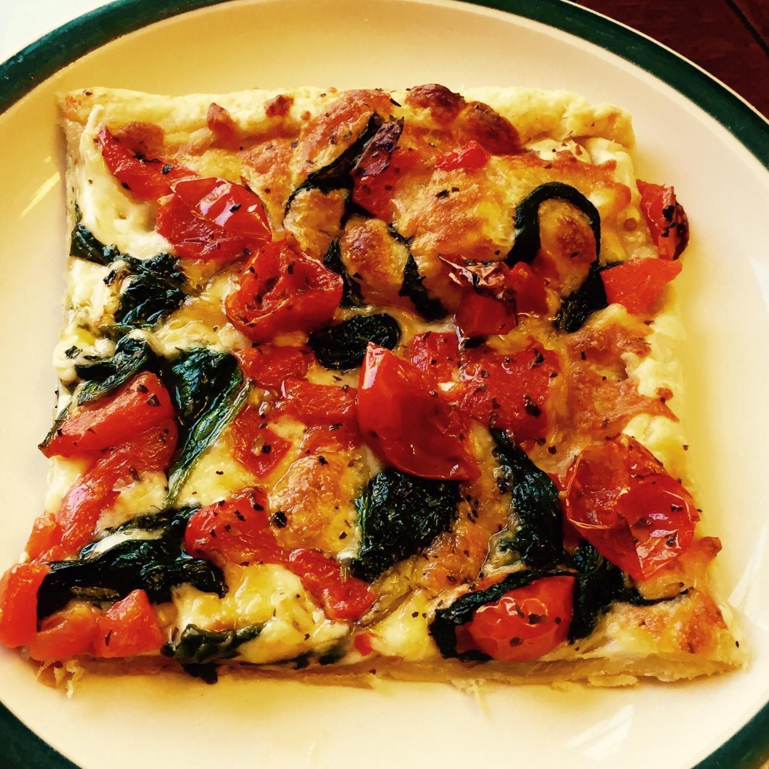 Tomato Mozzarella Garlic Spinach Flat Bread Recipe | Just A Pinch ...
