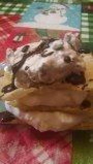 Triple cheesecake napoleon stack
