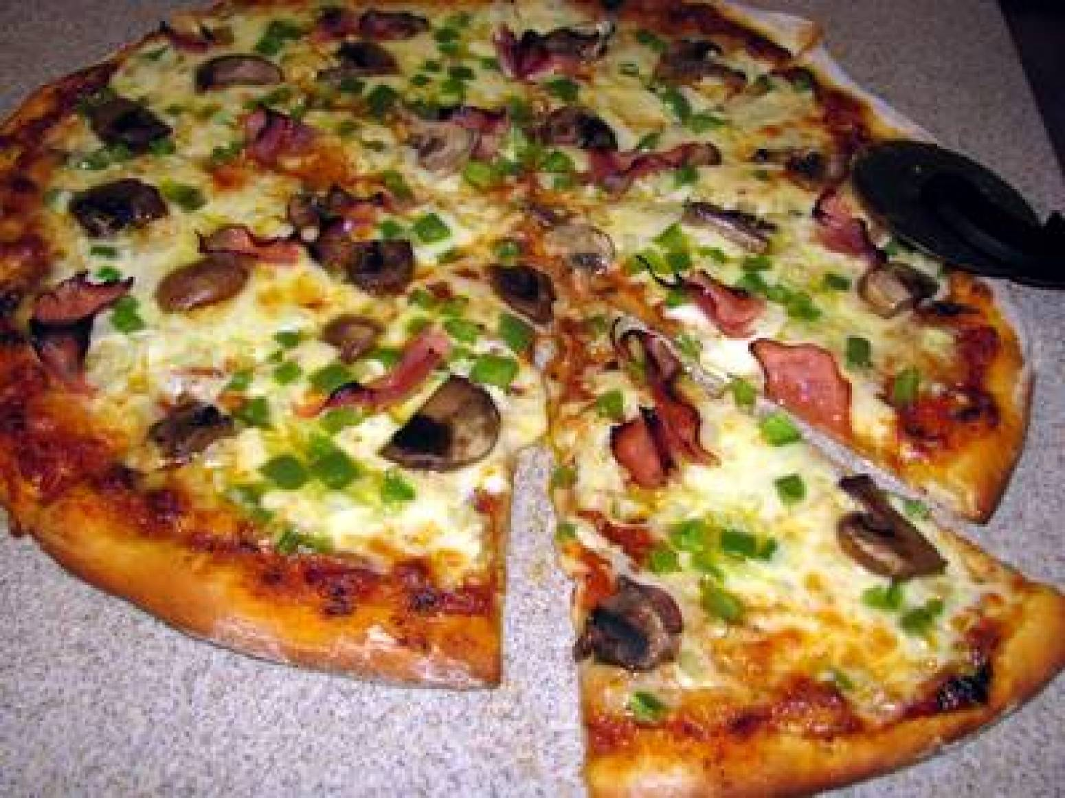 Mushroom, Bell Pepper And Green Onion Pizza Recipe — Dishmaps