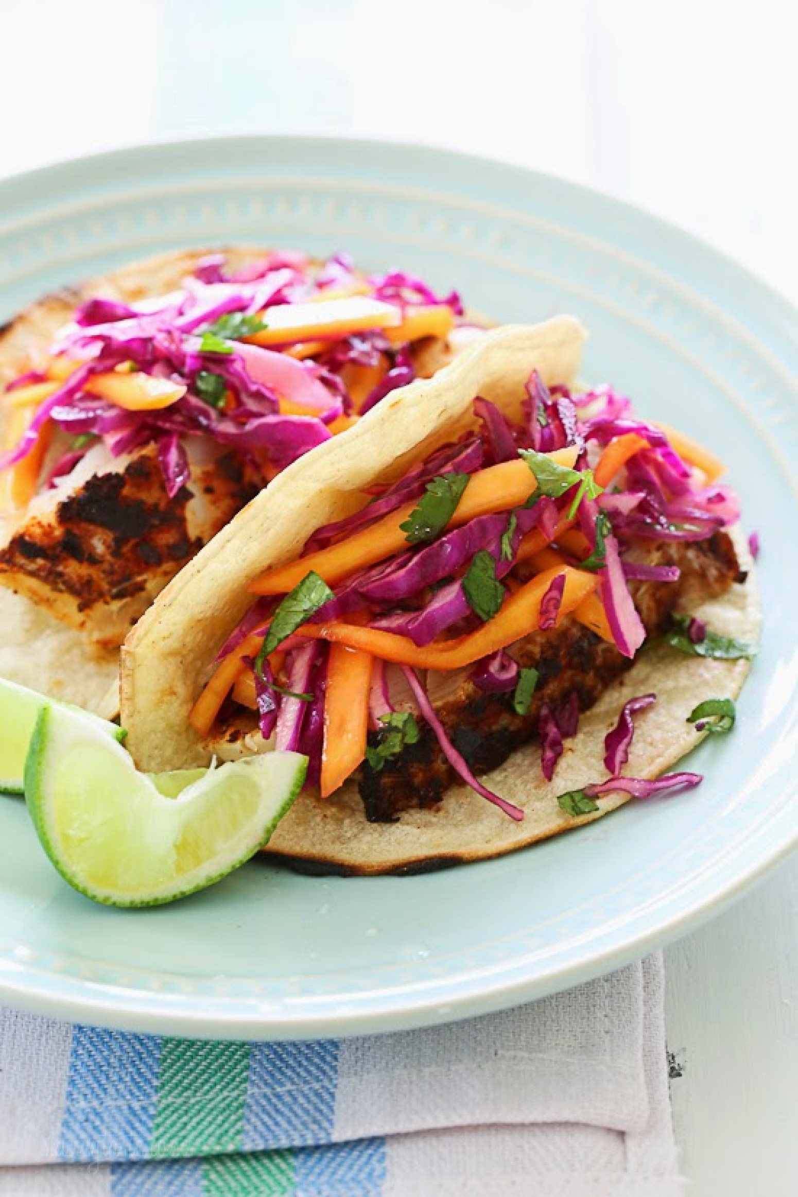Blackened fish tacos with cabbage mango slaw recipe just for Slaw recipe for fish tacos