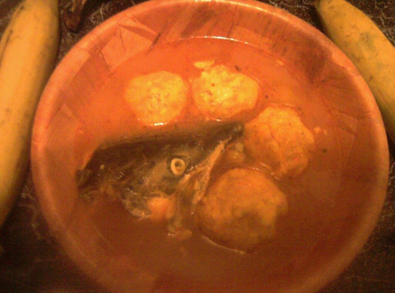 fish soup w/ savory plantain balls Recipe