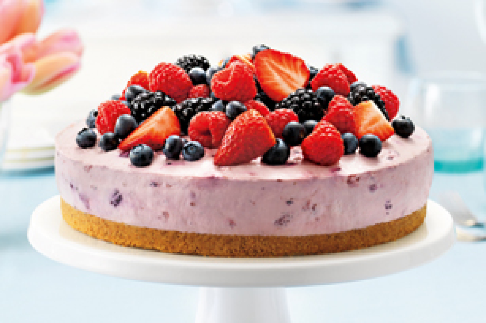 Berry Bliss NoBake Cheesecake Recipe | Just A Pinch Recipes