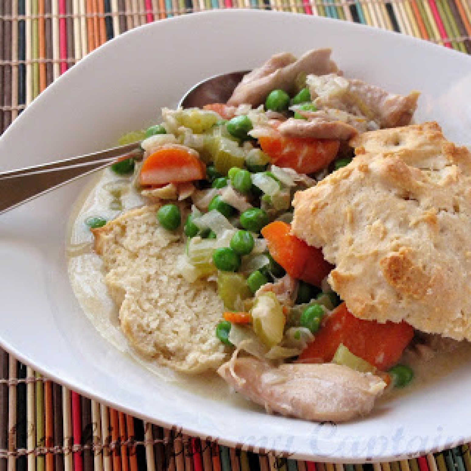 Slow-Cooker Creamy Chicken w/ Biscuits Recipe | Just A Pinch Recipes