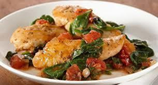 Herb Chicken Skillet with Spinach and Tomatoes Recipe
