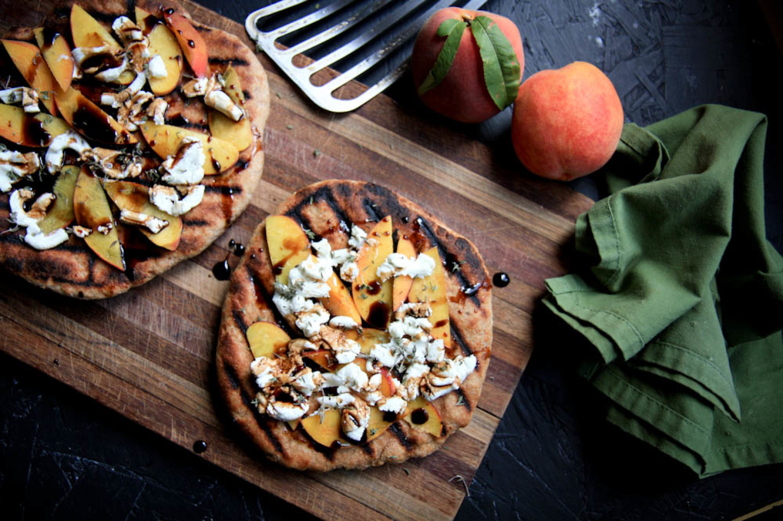 GRILLED PEACH AND GOAT CHEESE PIZZAS Recipe | Just A Pinch Recipes