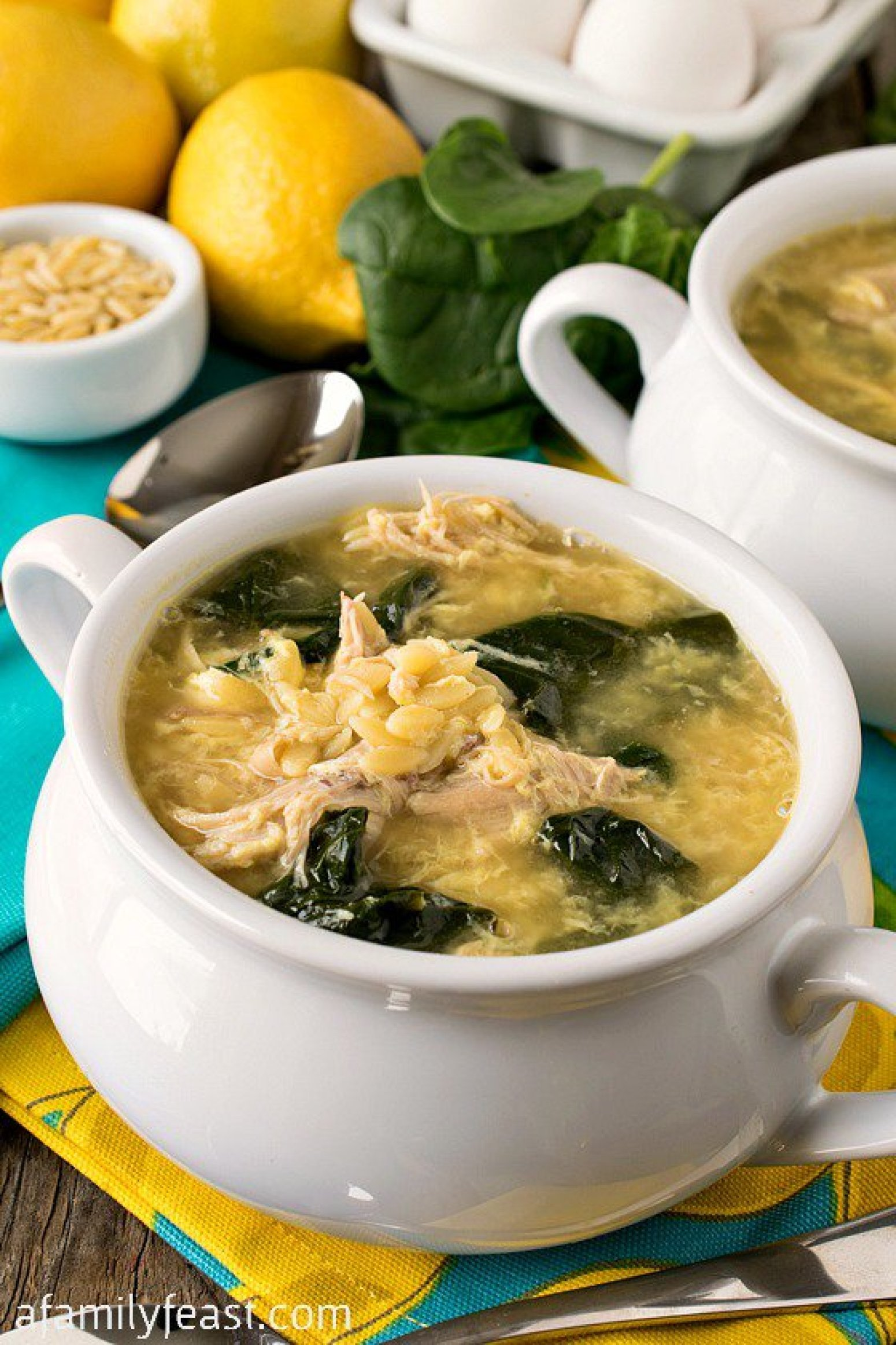 Greek Lemon Chicken Soup with Orzo Recipe | Just A Pinch Recipes