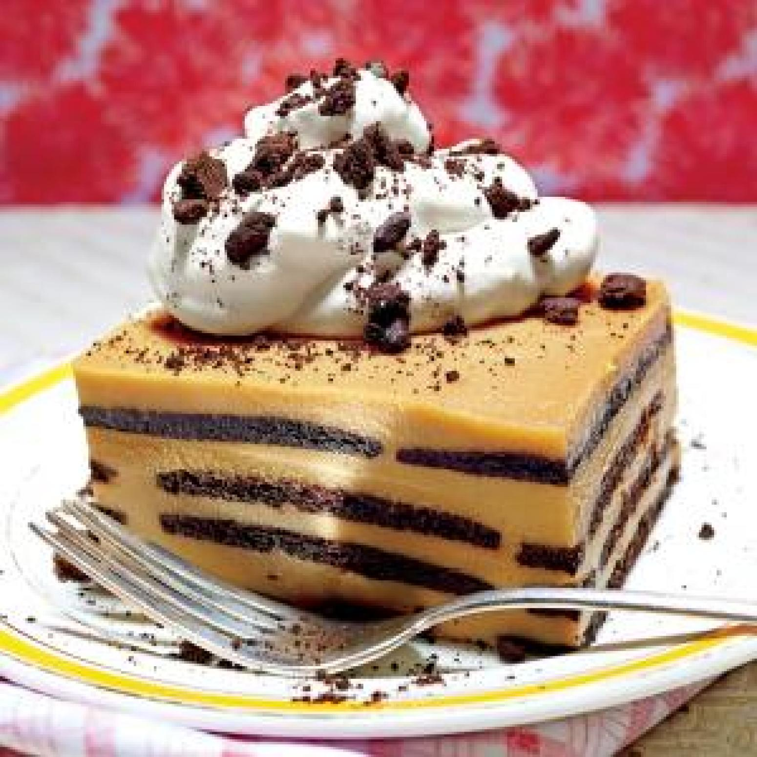 Chocolate bourbon butterscotch ice box cake Recipe | Just A Pinch ...