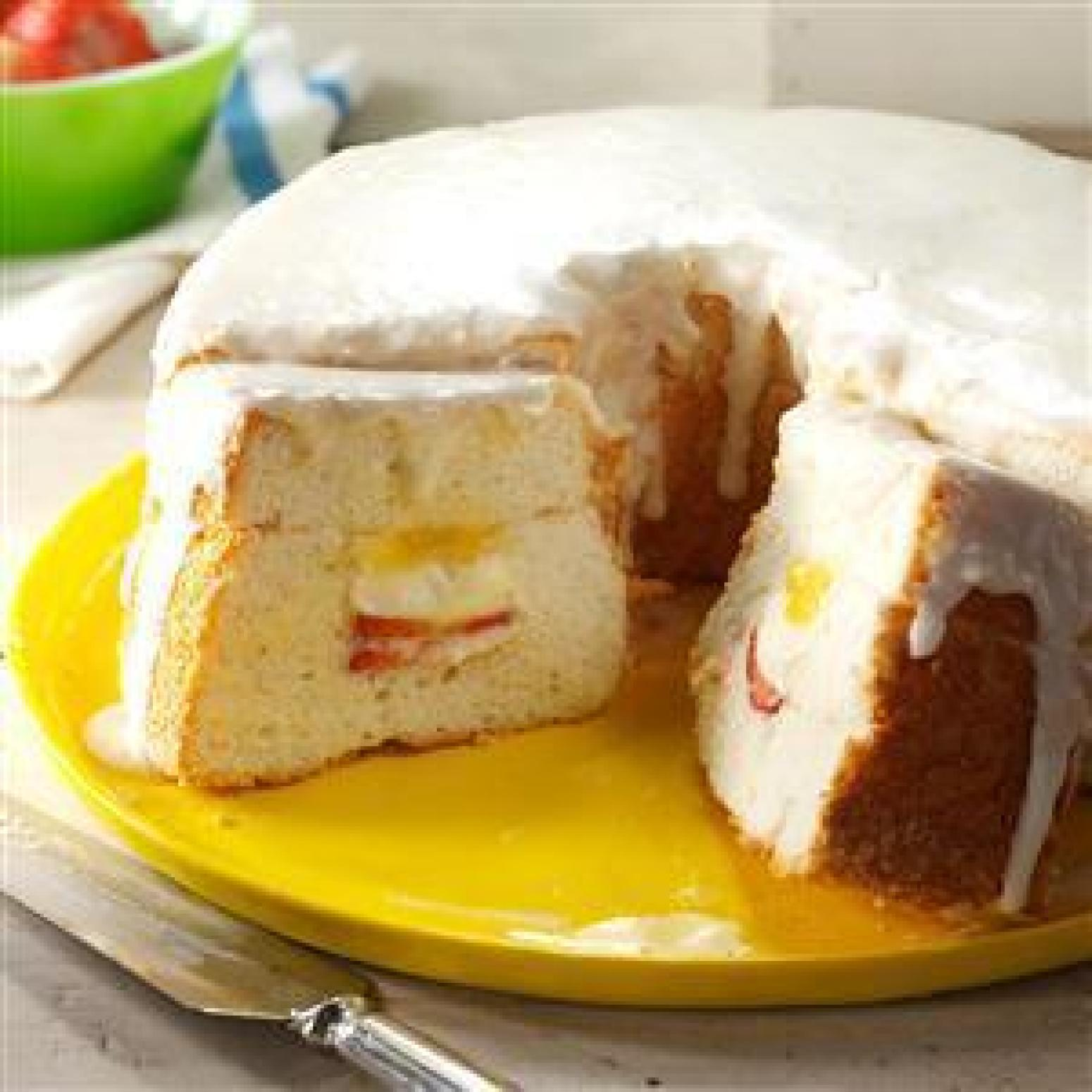 Lemon Curd-Filled Angel Food Cake Recipe | Just A Pinch Recipes