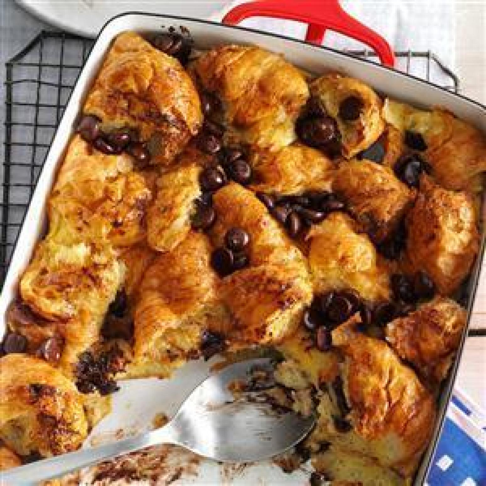 Dark Chocolate Croissant Bread Pudding Recipe | Just A Pinch Recipes