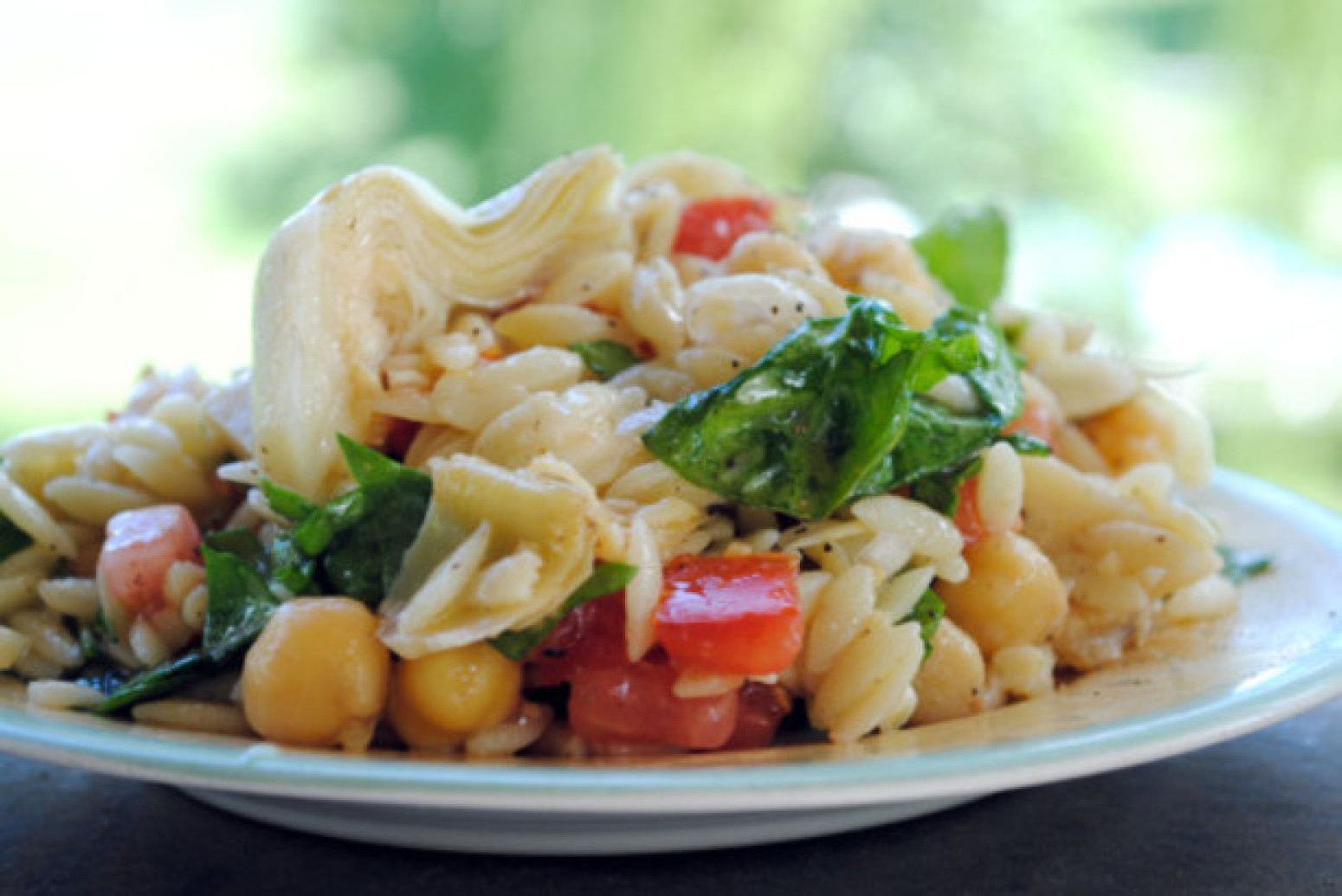 Greek Orzo Salad With Chickpeas & Artichoke Hearts Recipe ...