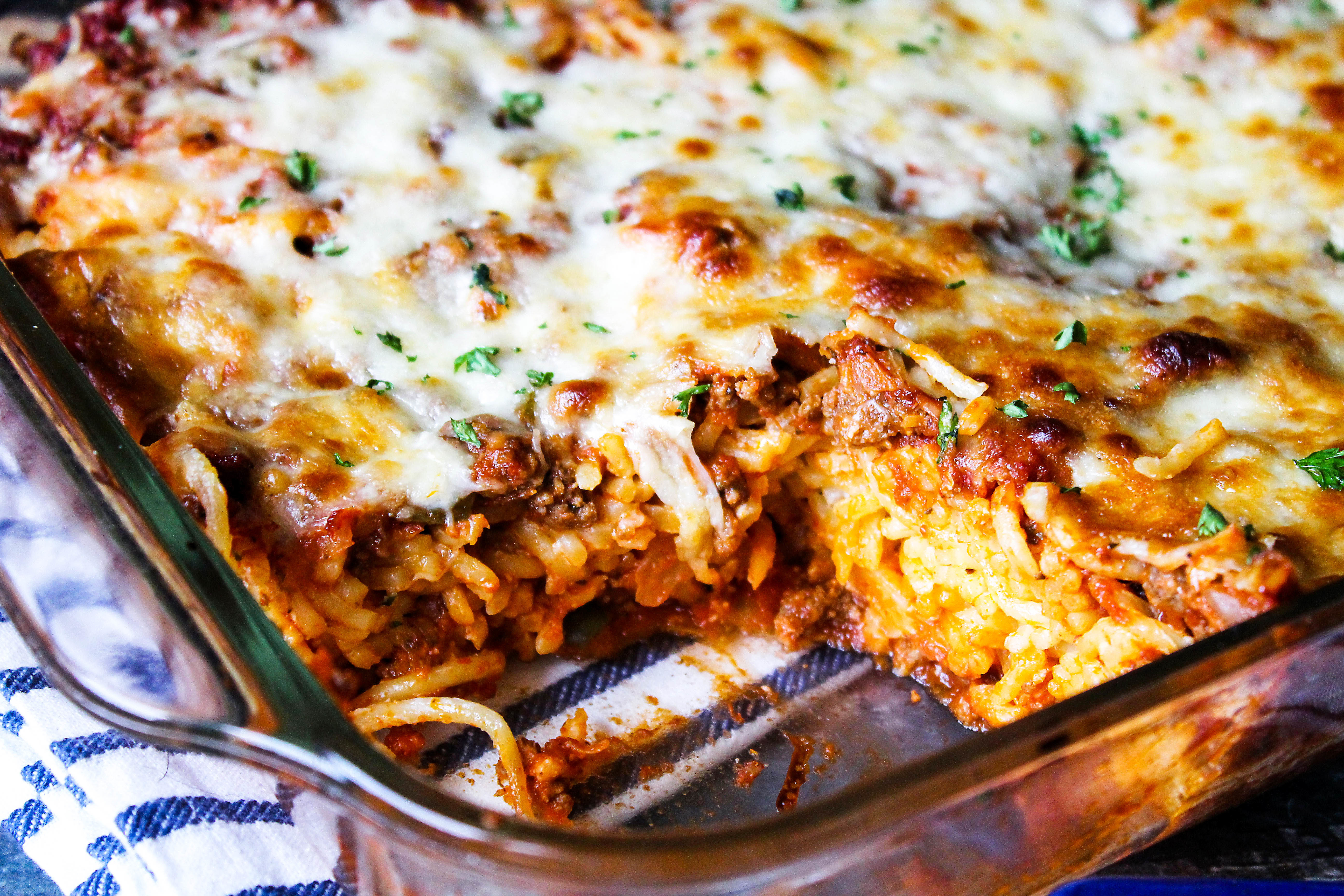 baked spaghetti casserole with cream cheese