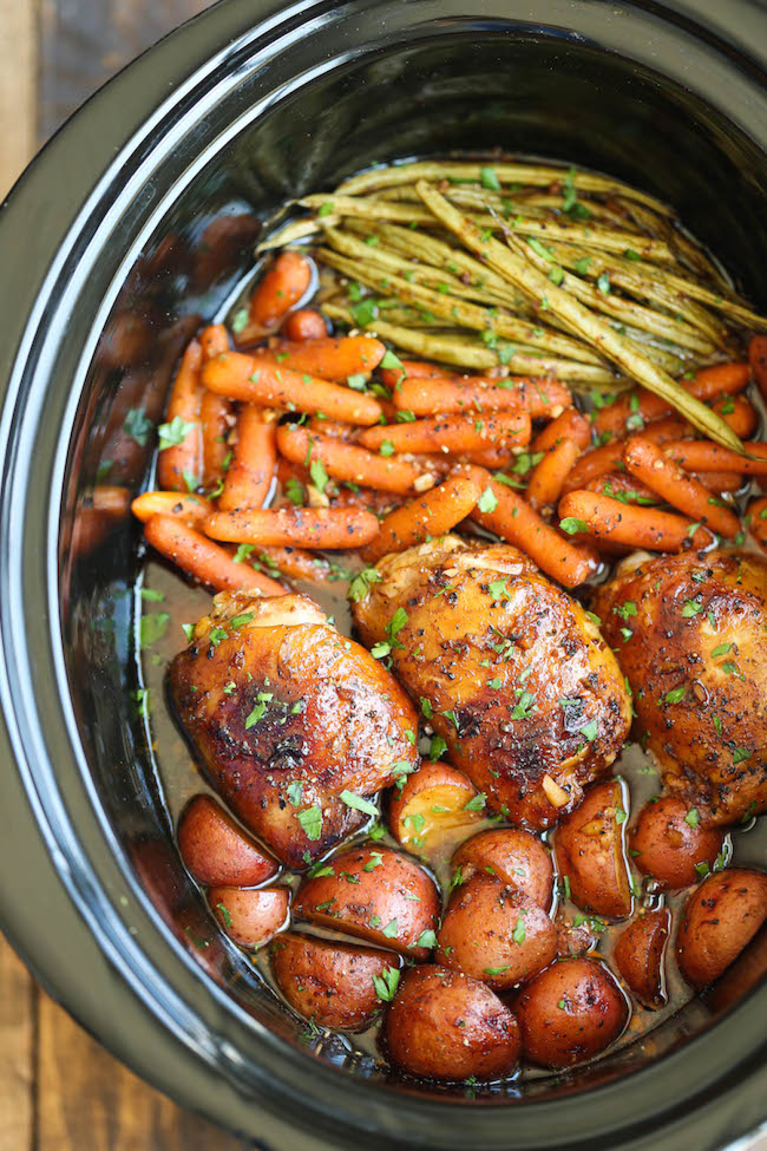 Slow Cooker Honey Garlic Chicken and Veggies Recipe | Just ...