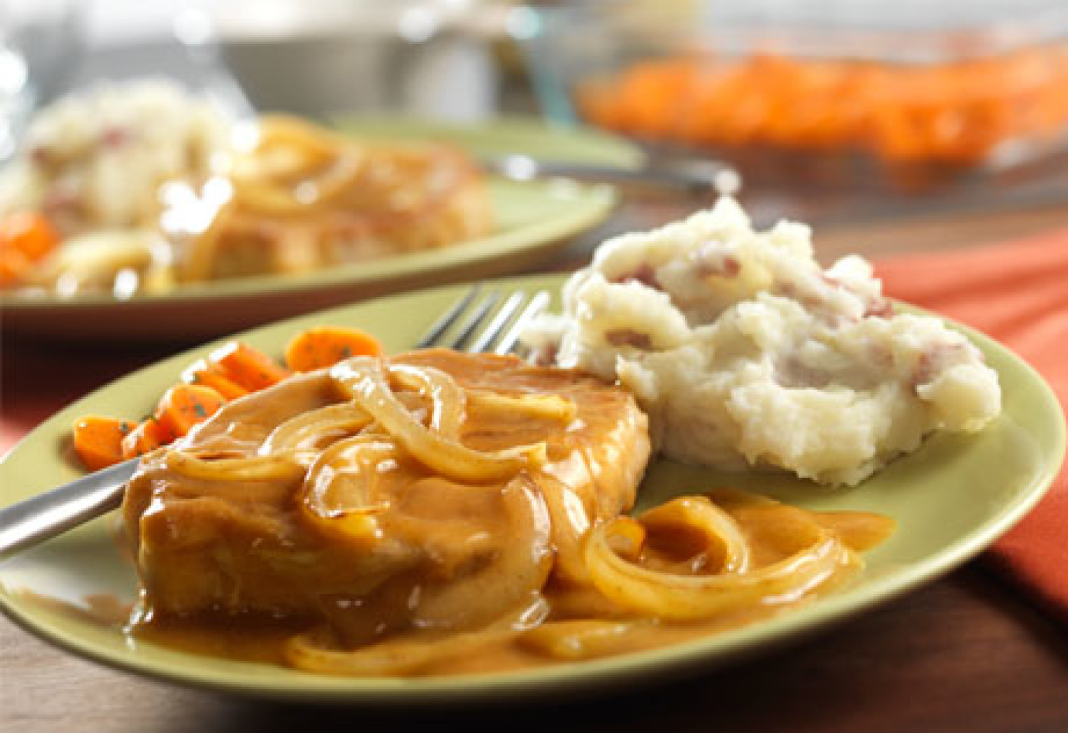 Campbell's Pork Chops and Mustard Onion Gravy Recipe | Just A Pinch Recipes