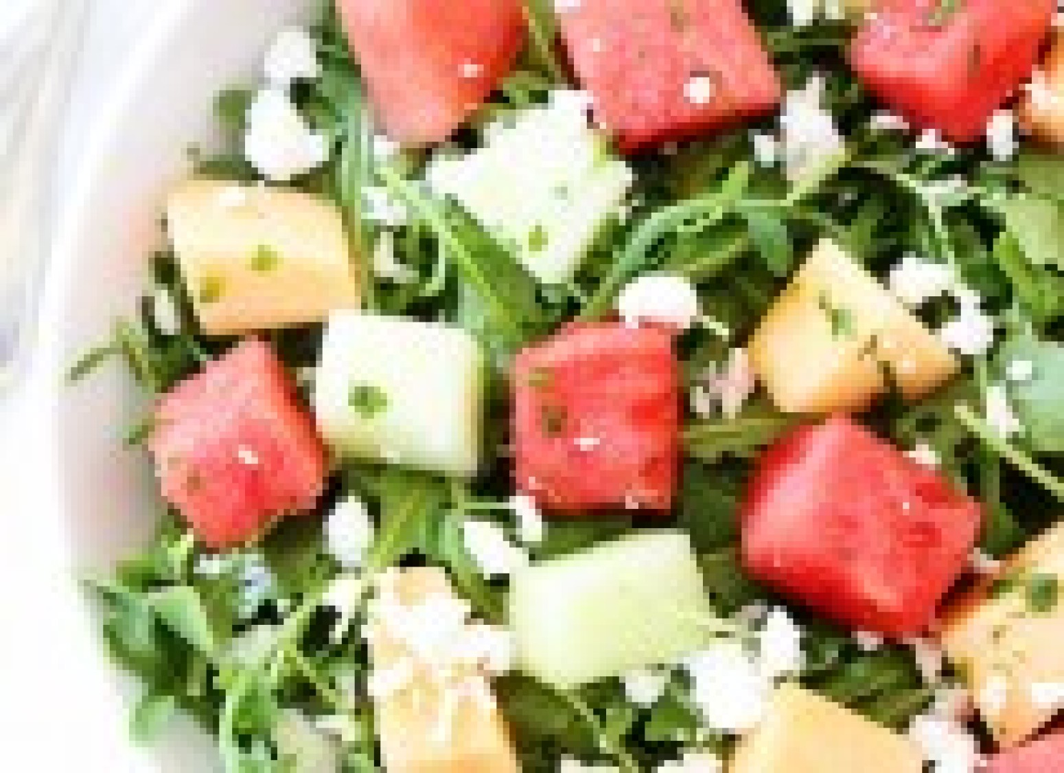 Melon Arugula Salad with Honey Lime Dressing Recipe | Just A Pinch ...