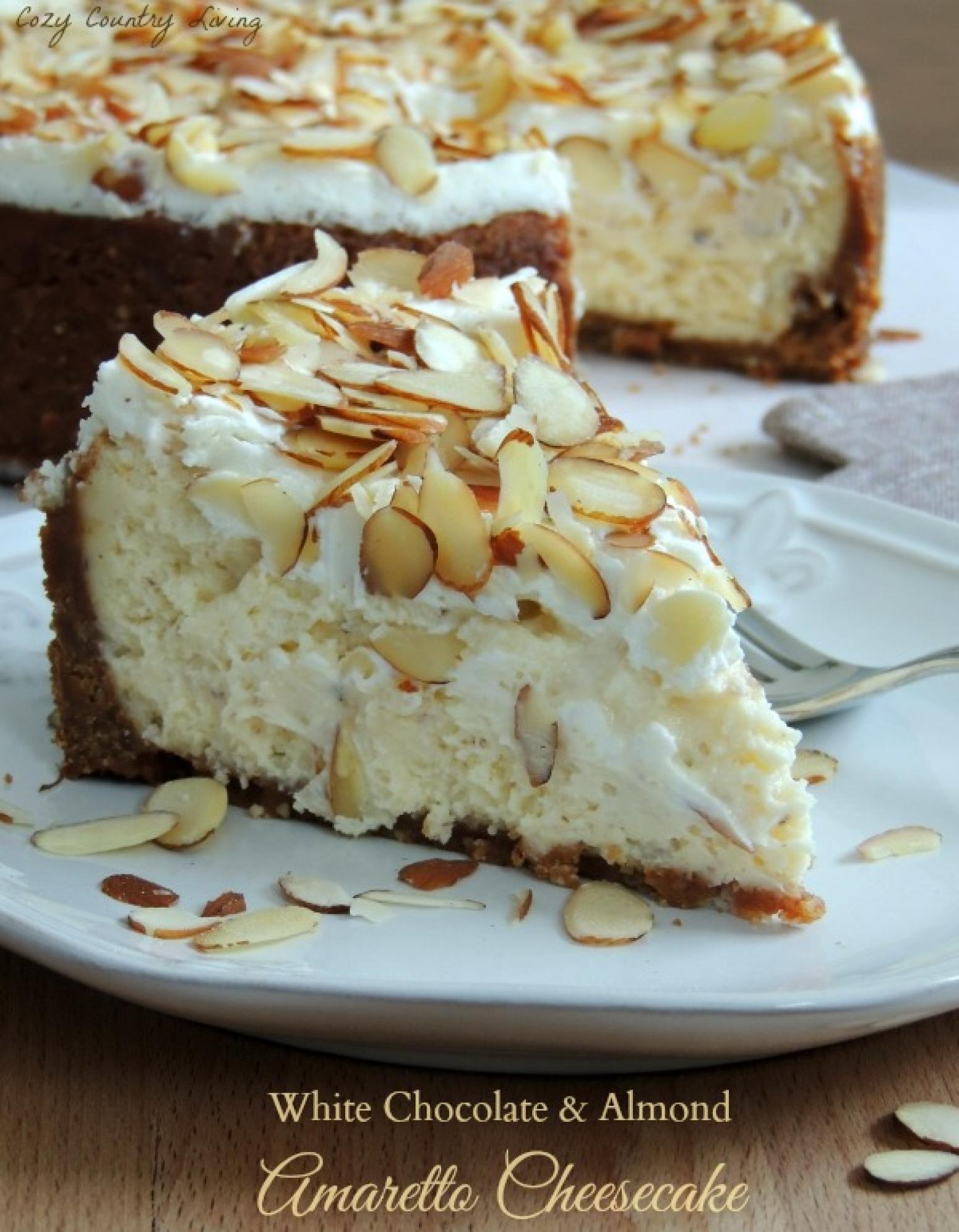 White Chocolate & Almond Amaretto Cheesecake Recipe | Just A Pinch ...
