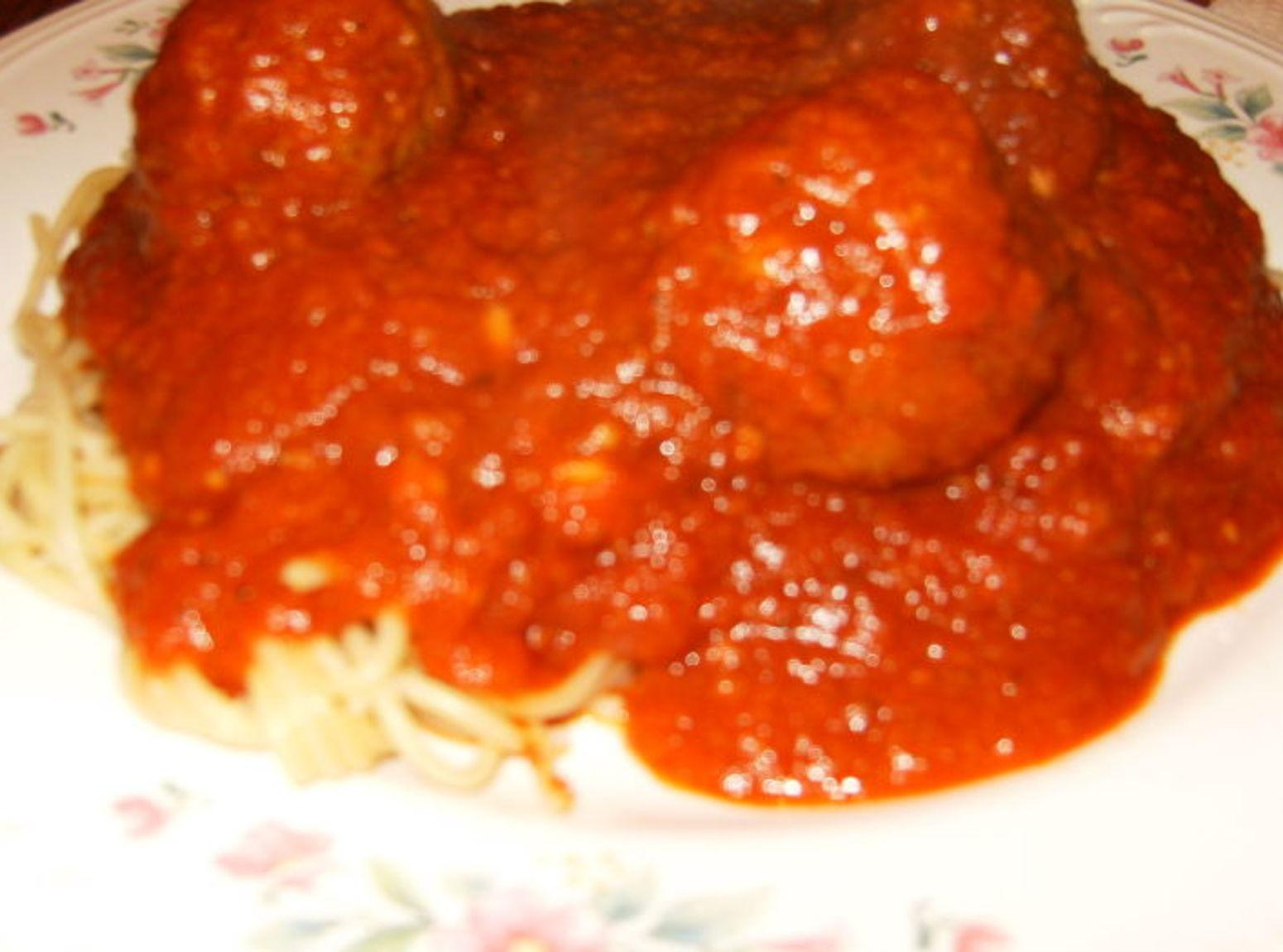 Homemade Italian Spaghetti Sauce and Meatballs Recipe | Just A Pinch ...