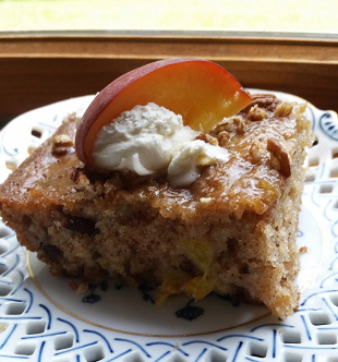 ~  One Bowl Peach Cobbler Cake & Glaze ~ Cassies Recipe