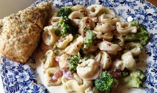 ~ Broccoli, Prosciutto and Tortellini Alfredo ~ Recipe