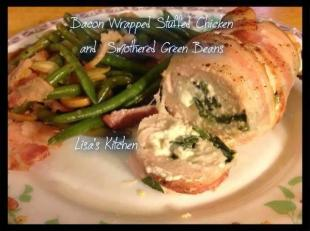 Bacon Wrapped Stuffed Chicken and Smothered Green Recipe