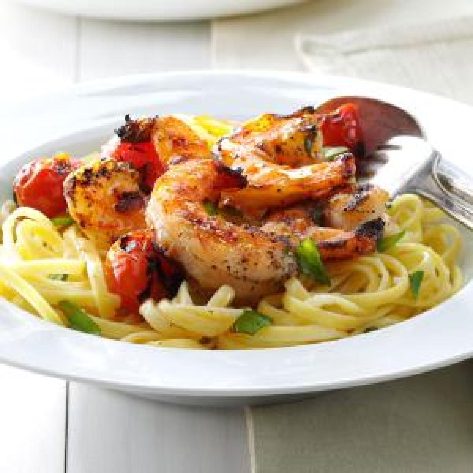 Grilled Shrimp & Tomatoes with Linguine Recipe 2 | Just A Pinch ...
