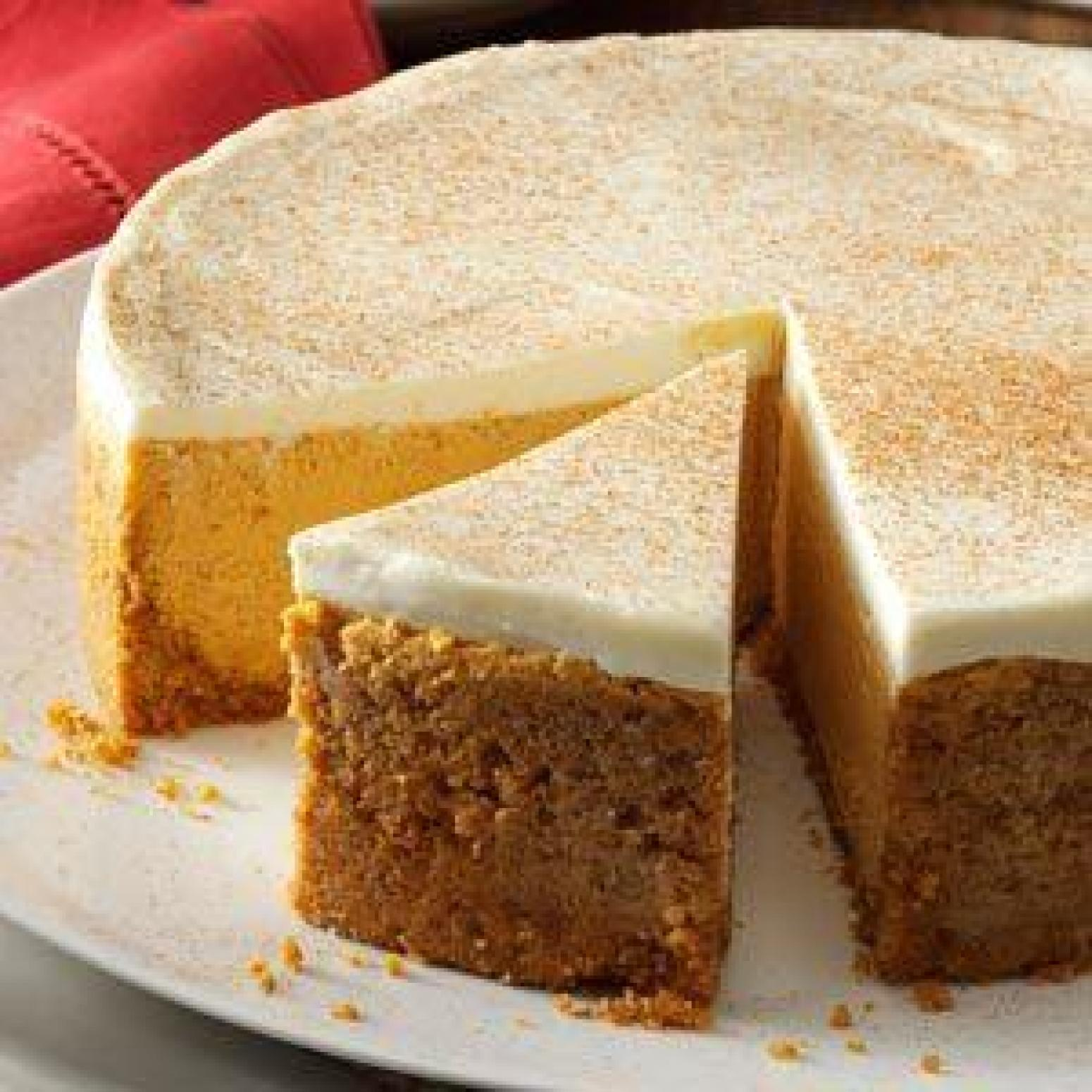 Pumpkin Cheesecake With Sour Cream Topping Recipe | Just A ...