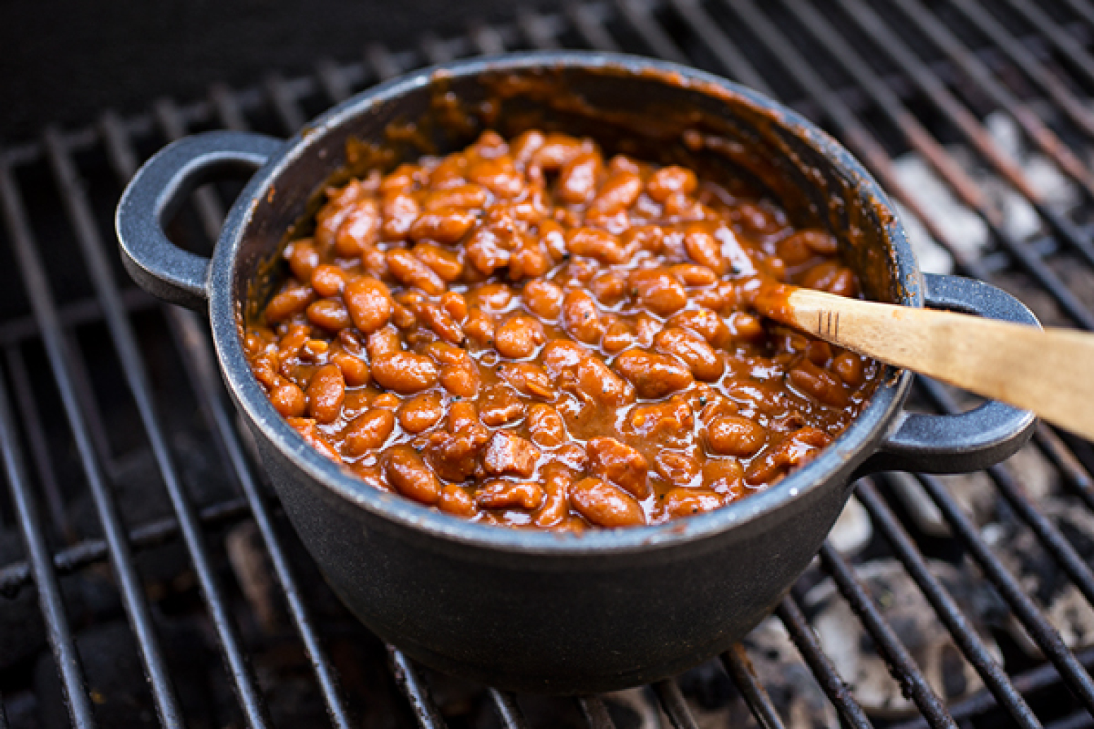 Smoky Bourbon Baked Beans Recipe | Just A Pinch Recipes