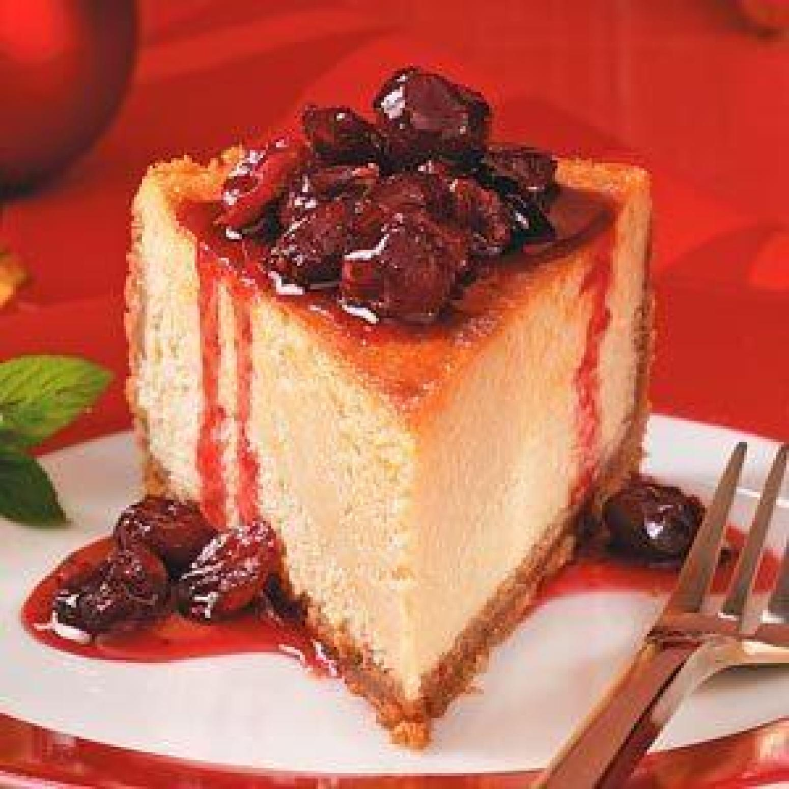 Maple Cheesecake With Maple-Cranberry Compote Recipe ...