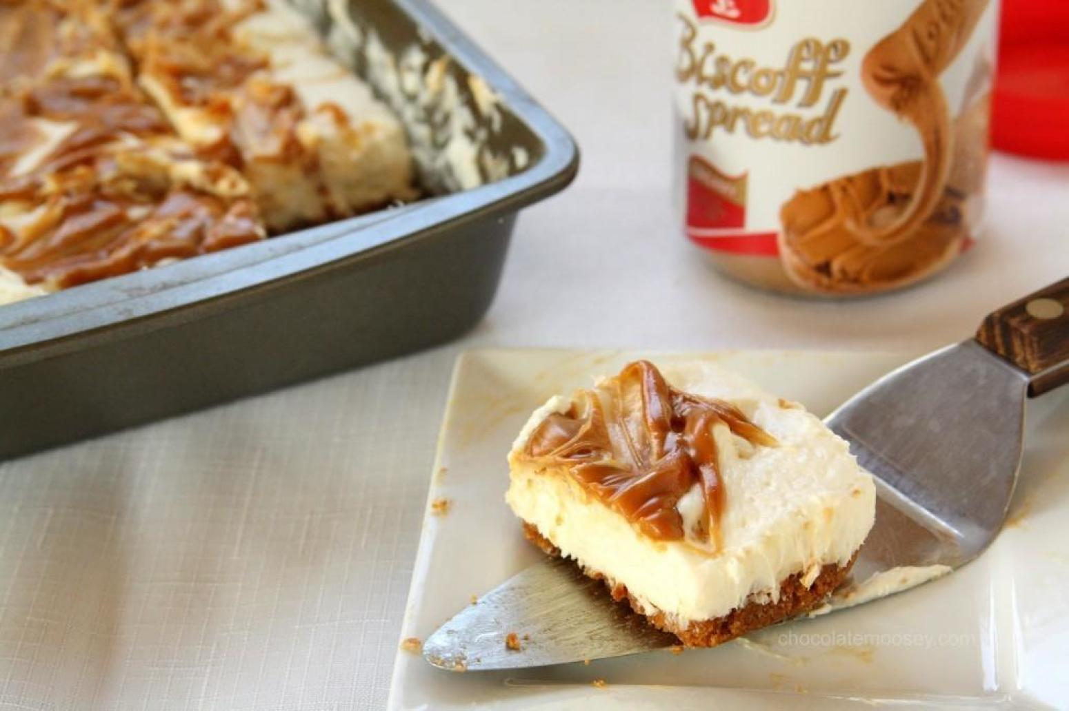 No Bake Biscoff Swirl Cheesecake Recipe | Just A Pinch Recipes