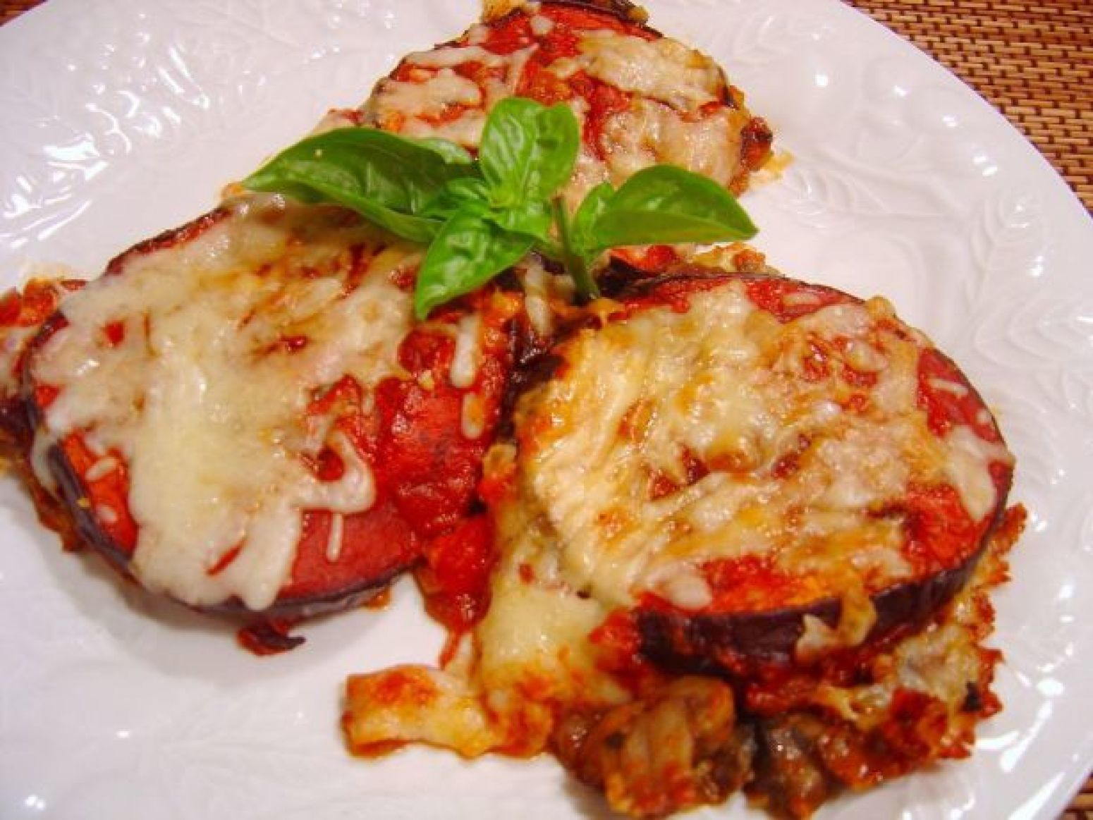 Baked Eggplant With Mushroom-And-Tomato Sauce Recipe | Just A Pinch ...