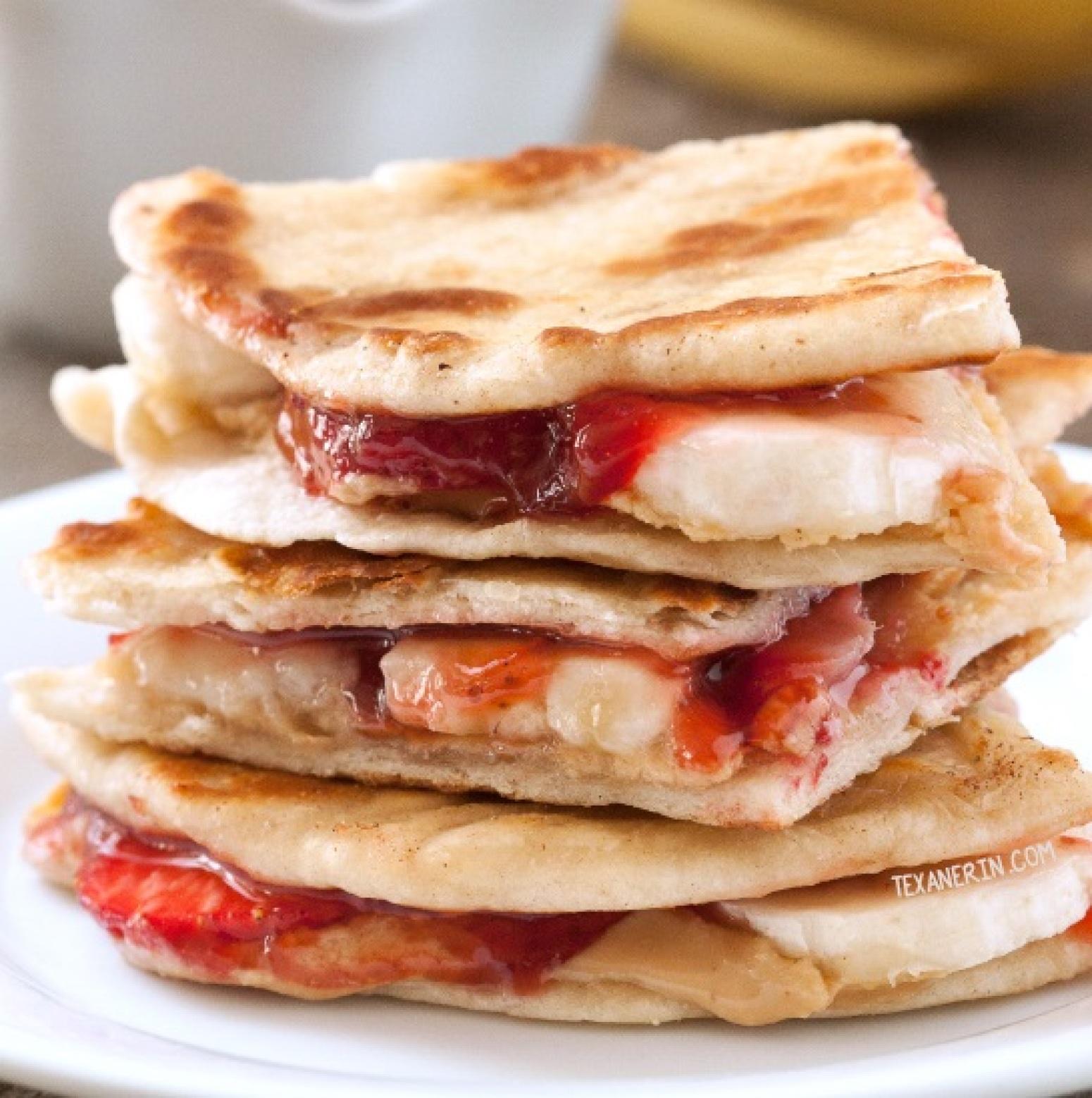Peanut Butter, Strawberry and Banana Quesadillas Recipe ...