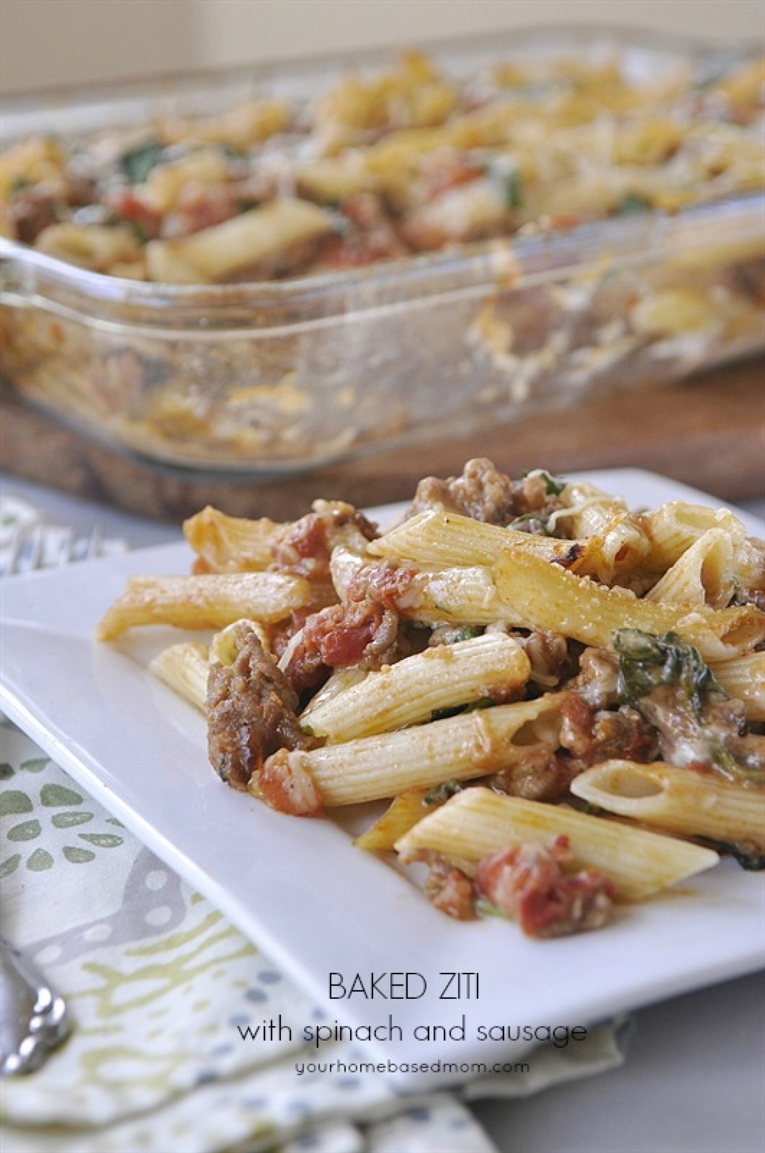 Baked Ziti with Spinach and Sausage Recipe | Just A Pinch Recipes