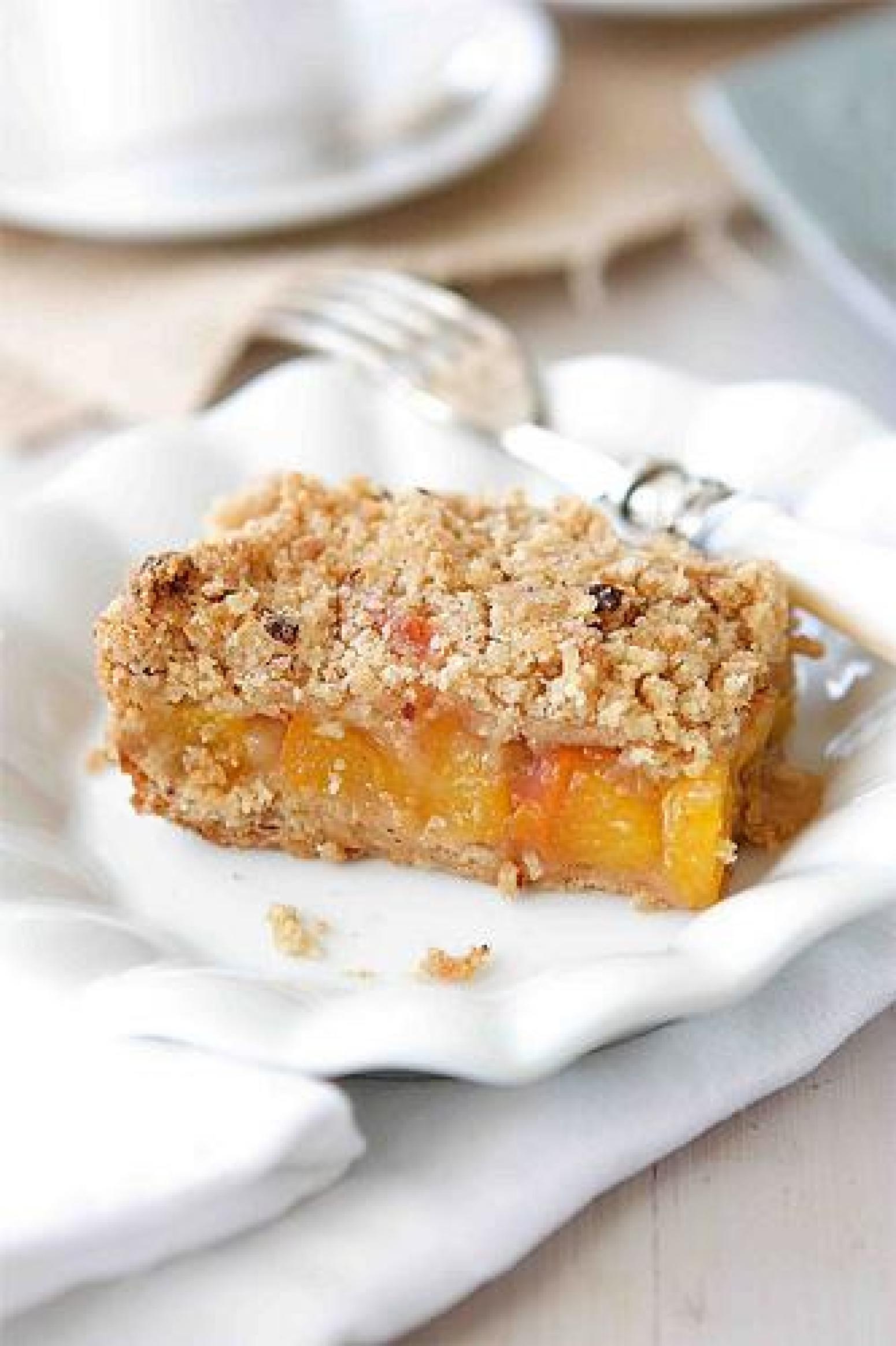 Peach Crumb Bars With Hazelnut Streusel Recipe | Just A Pinch Recipes