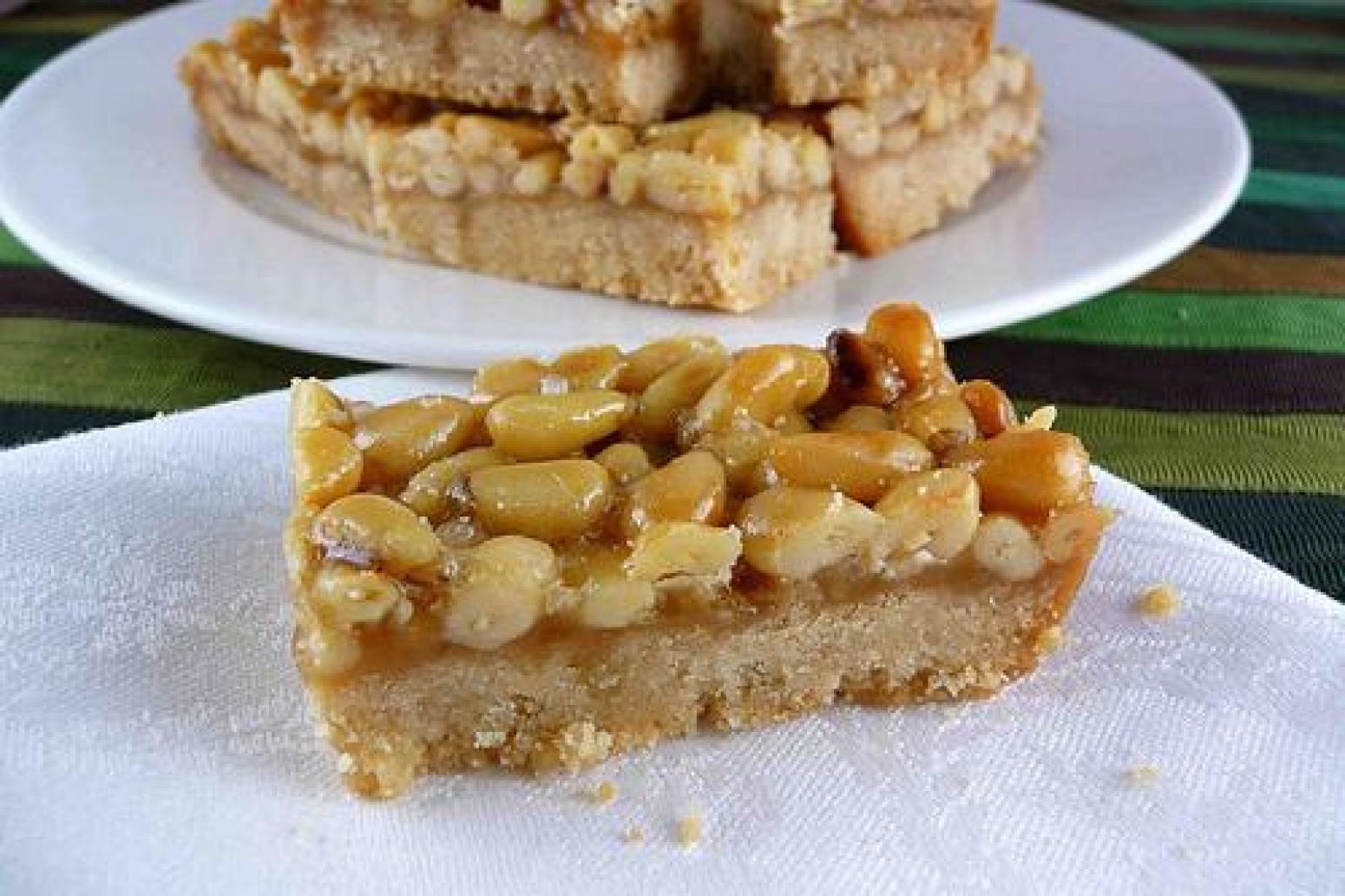 Pine Nut, Caramel & Sea Salt Shortbread Bars Recipe | Just A Pinch ...