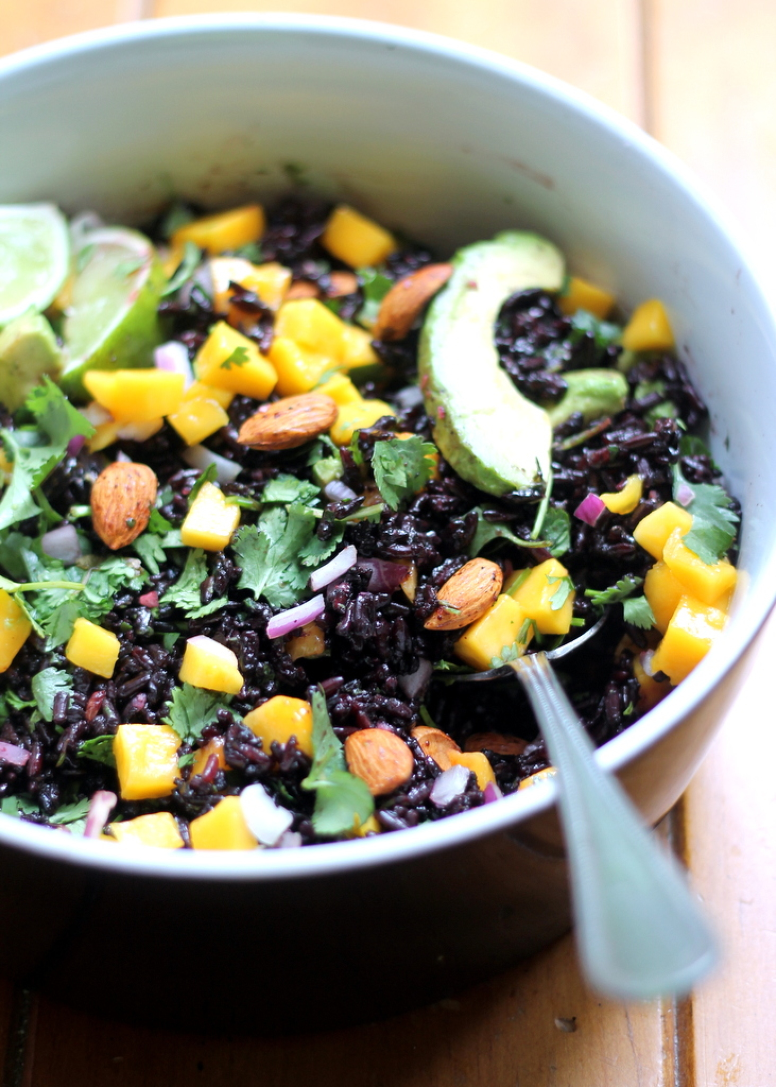 Mango & Avocado Black Rice Salad with Cilantro-Lime Vinaigrette Recipe ...