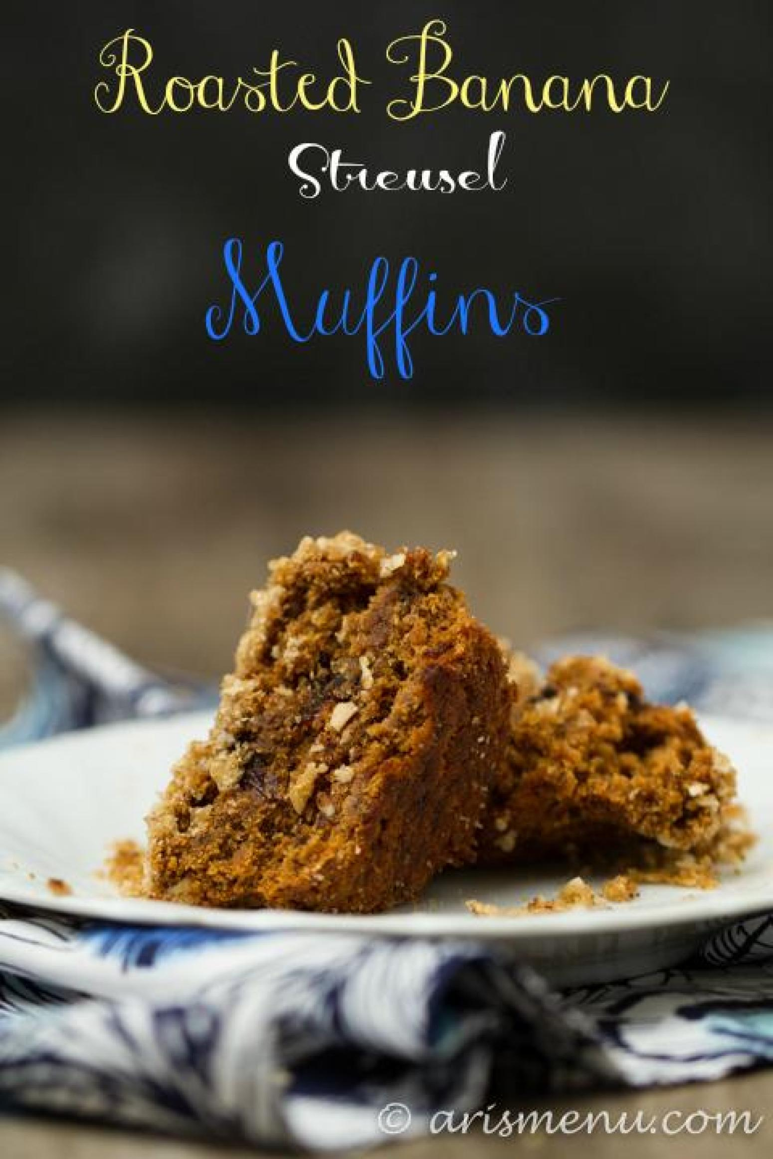 Roasted Banana Streusel Muffins Recipe | Just A Pinch Recipes