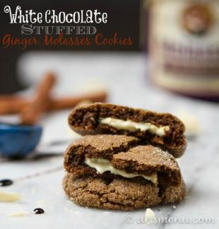 White Chocolate Stuffed Ginger Molasses Cookies Recipe