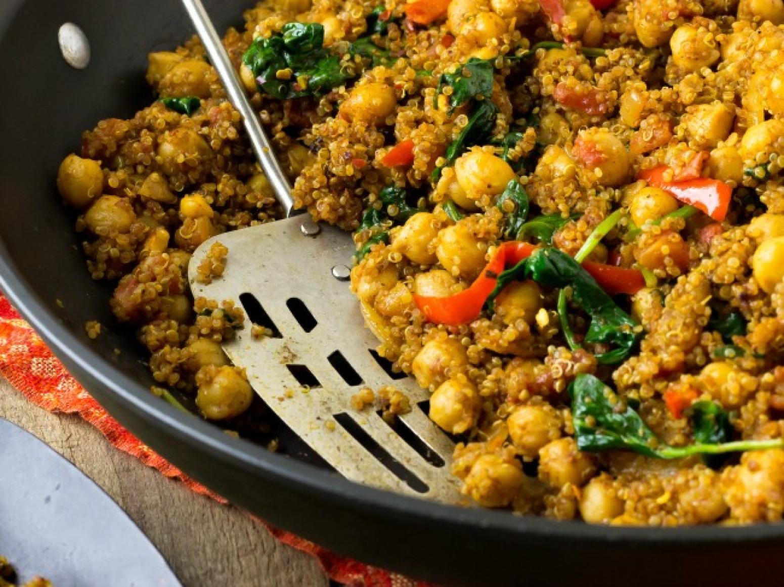 Indian Quinoa and Chickpea Stir Fry Recipe | Just A Pinch Recipes