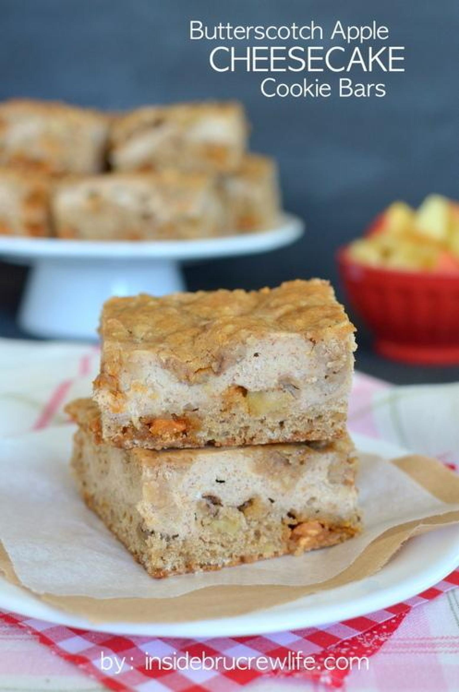 Butterscotch Apple Cheesecake Cookie Bars Recipe | Just A ...