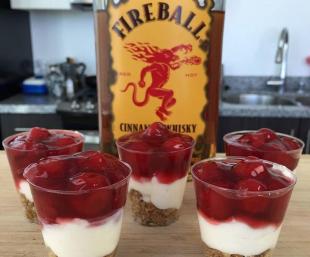Campbell Family FIREBALL WHISKEY SHOTS CHEESECAKE Recipe