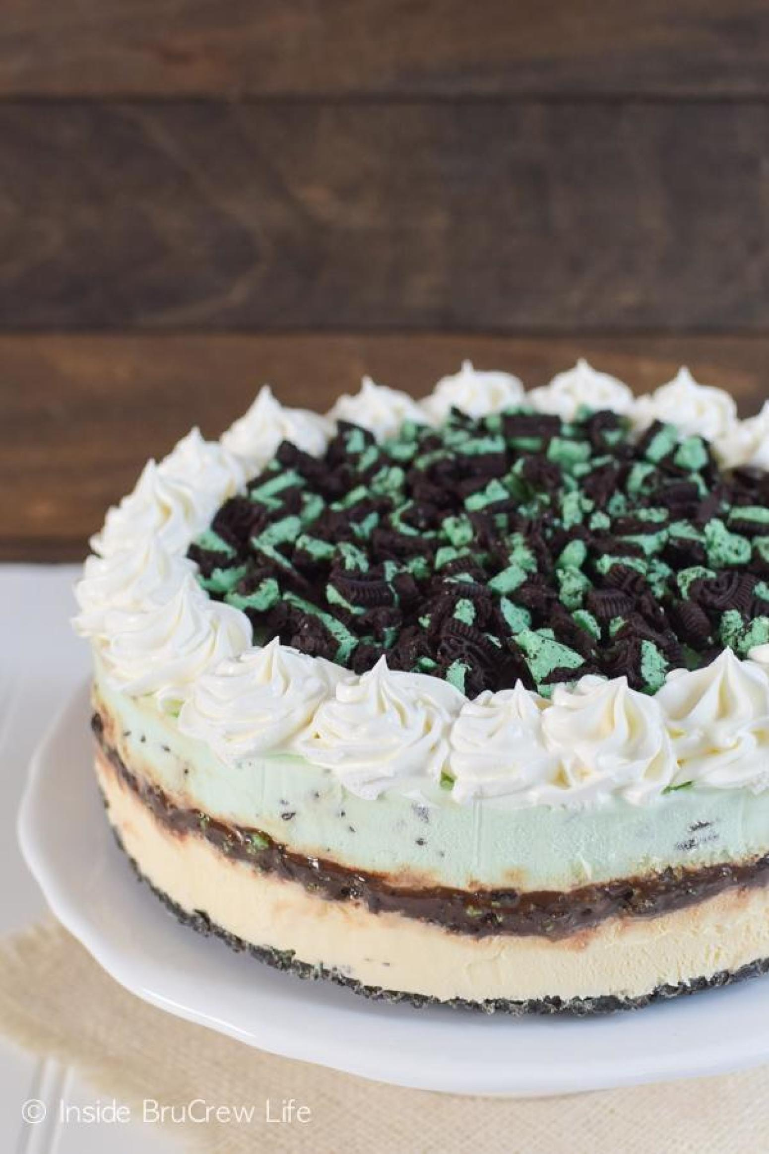 Vanilla Mint Chip Ice Cream Cake Recipe | Just A Pinch Recipes