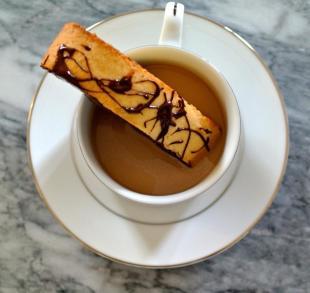 Salted Caramel Biscotti with Dark Chocolate