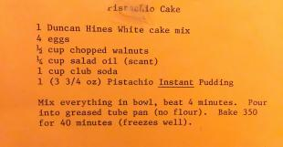 Vintage Pistachio Cake Recipe