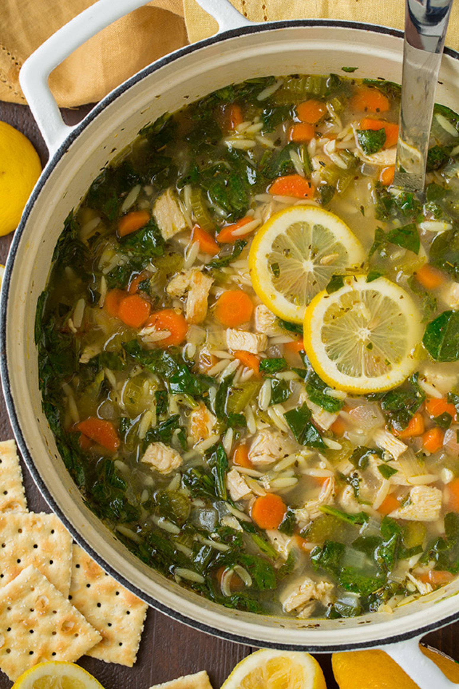 Lemon Chicken and Spinach Orzo Soup Recipe | Just A Pinch Recipes