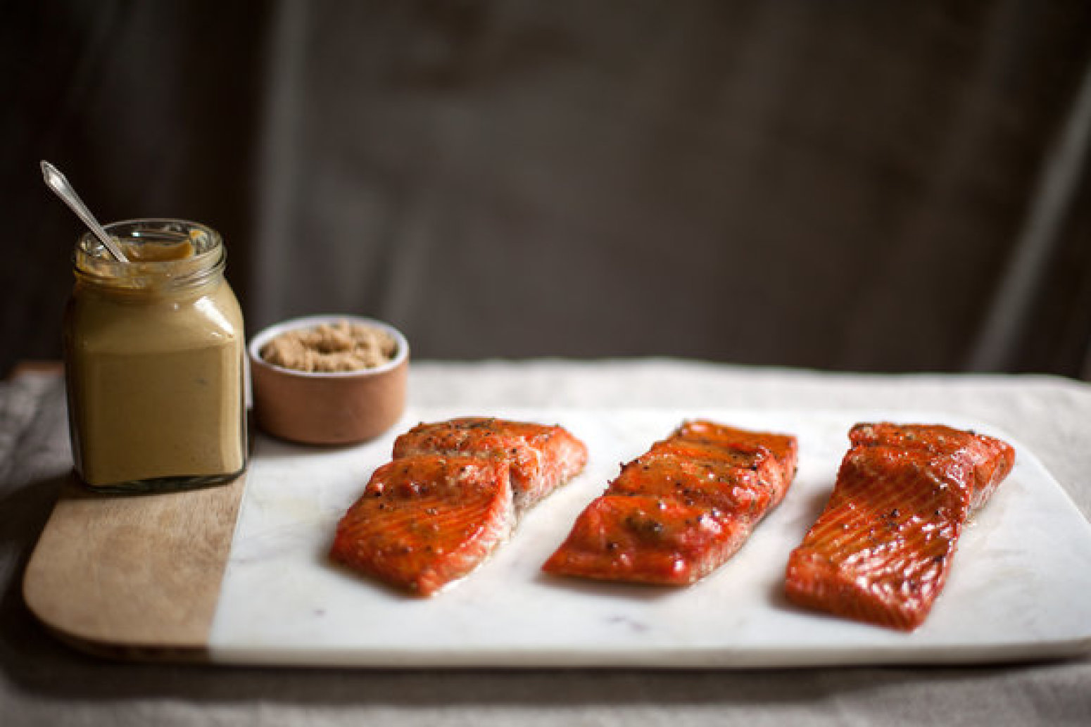 Roasted Salmon Glazed with Brown Sugar and Mustard Recipe | Just A ...