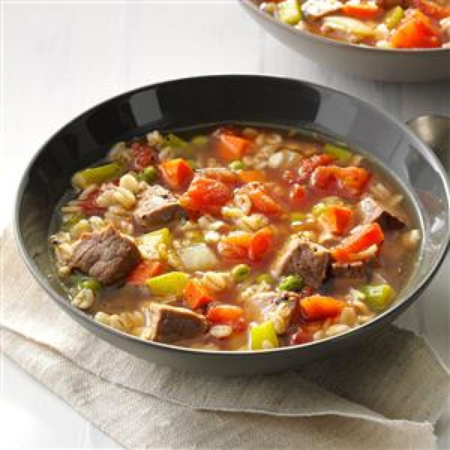 Comforting Beef Barley Soup Recipe | Just A Pinch Recipes