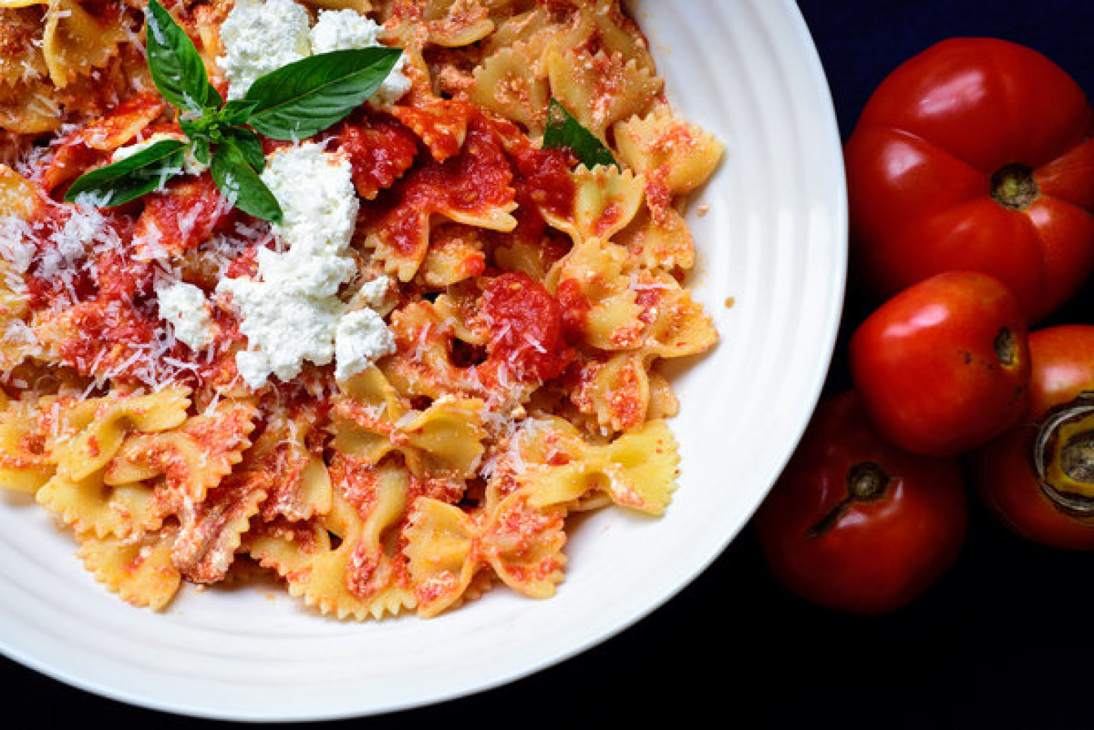 Pasta With Fresh Tomato Sauce and Ricotta Recipe | Just A Pinch ...