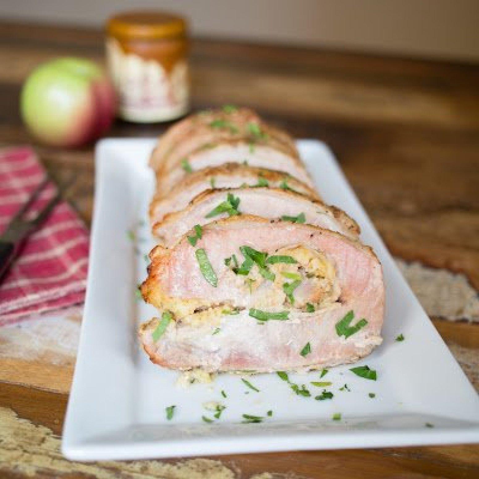 Caramel Apple Cornbread Stuffed Pork Loin Recipe | Just A Pinch ...