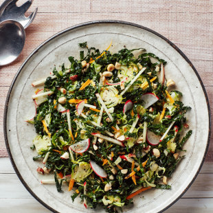 Kale Salad with Brussels Sprouts, Apples, and Hazelnuts