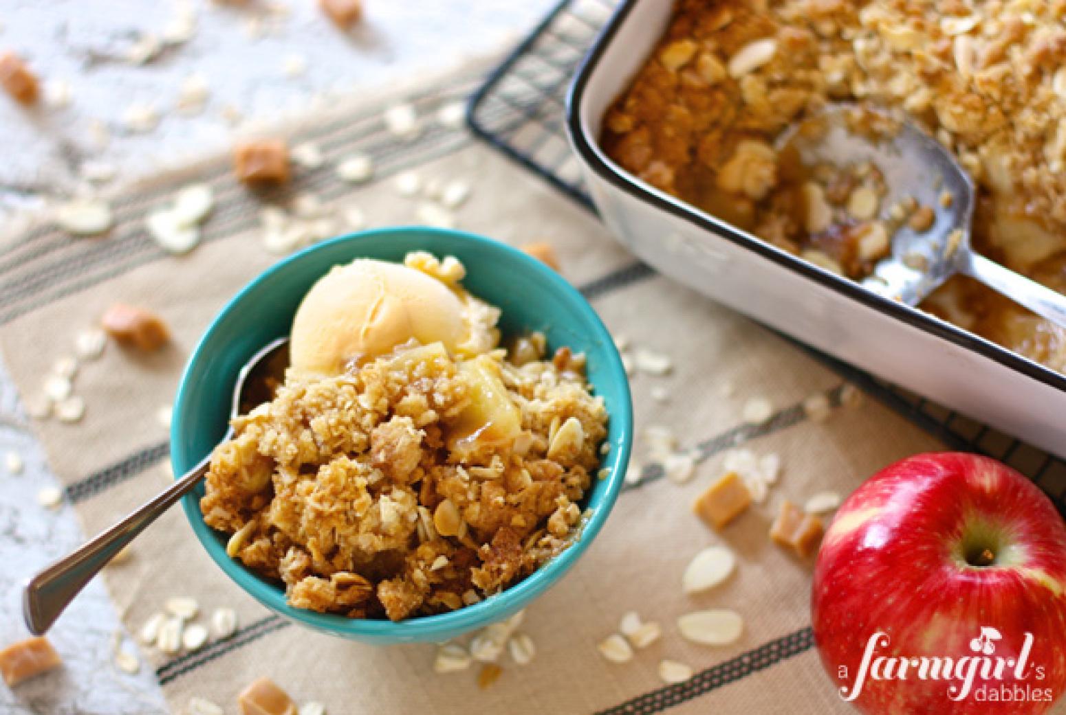 Caramel Apple Almond Crisp Recipe | Just A Pinch Recipes