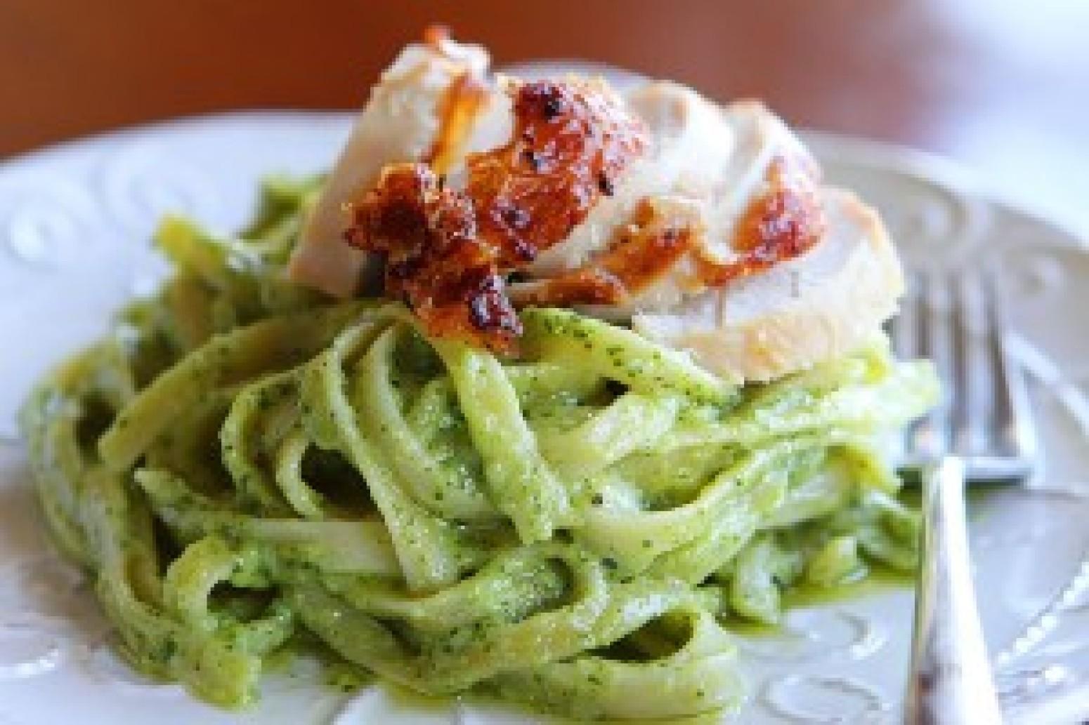 Pasta with Pesto Cream Sauce Recipe 2   Just A Pinch Recipes